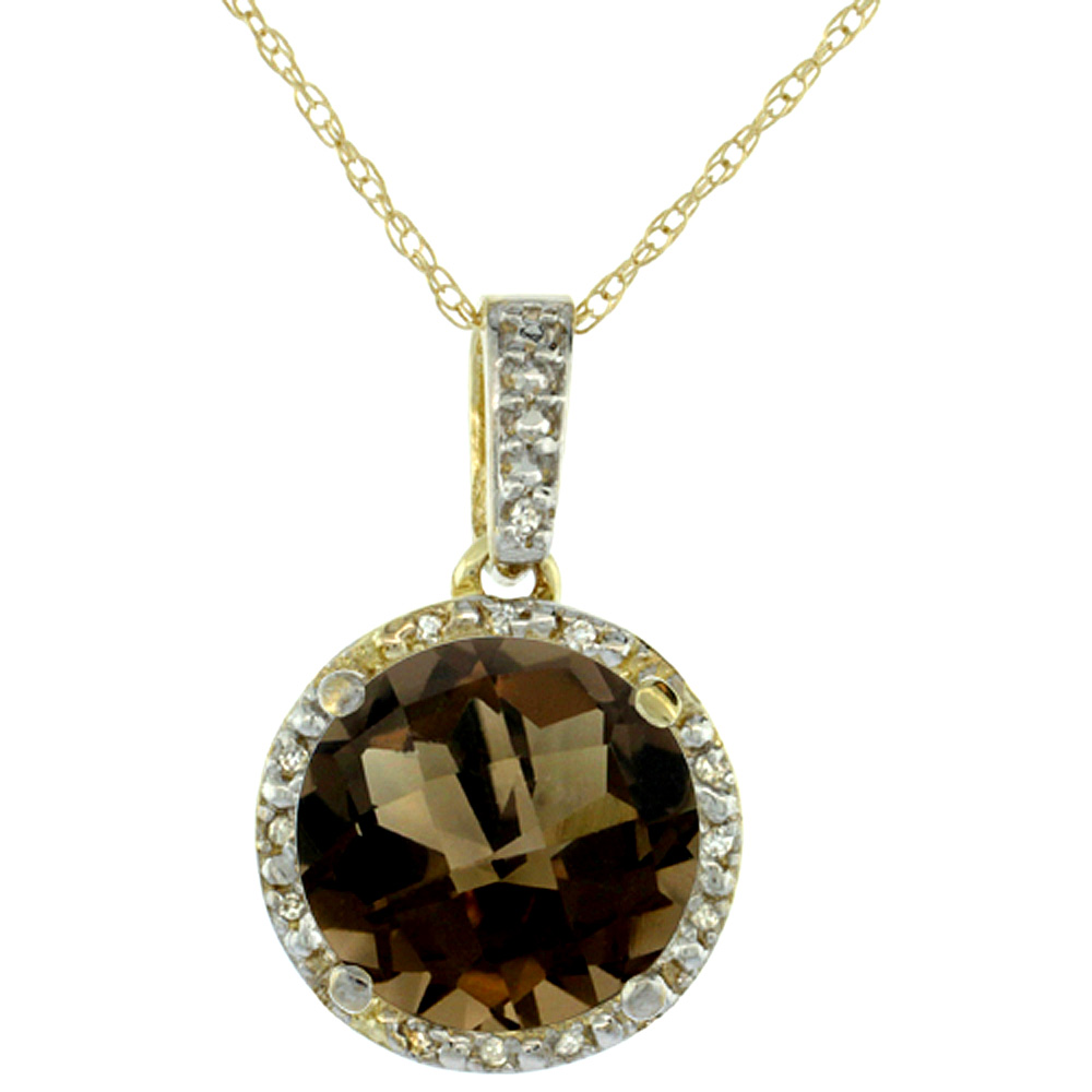 10K Yellow Gold Natural Smoky Topaz Pendant Round 11x11 mm & Diamond Accents