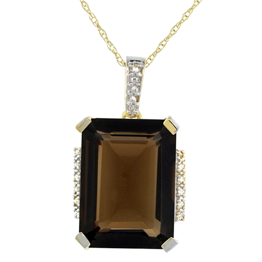 10K Yellow Gold Natural Smoky Topaz Pendant Octagon 16x12 mm & Diamond Accents