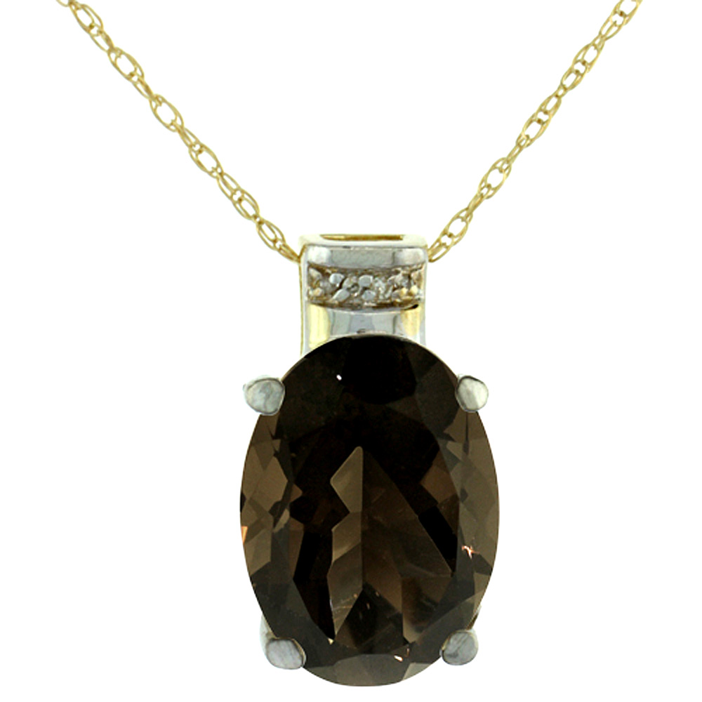 10K Yellow Gold Diamond Natural Smoky Topaz Pendant Oval 14x10 mm