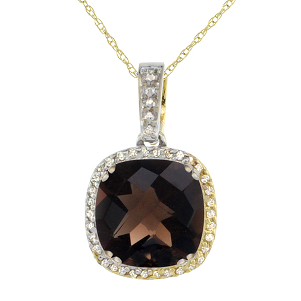10k Yellow Gold Diamond Halo Natural Smoky Topaz Necklace Cushion Shaped 10x10mm, 18 inch long