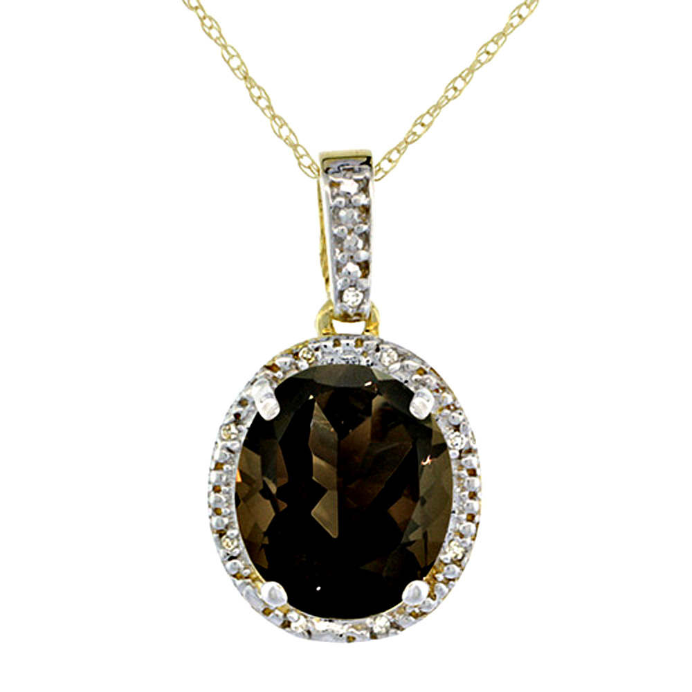 10K Yellow Gold Diamond Halo Natural Smoky Topaz Necklace Oval 12x10 mm, 18 inch long