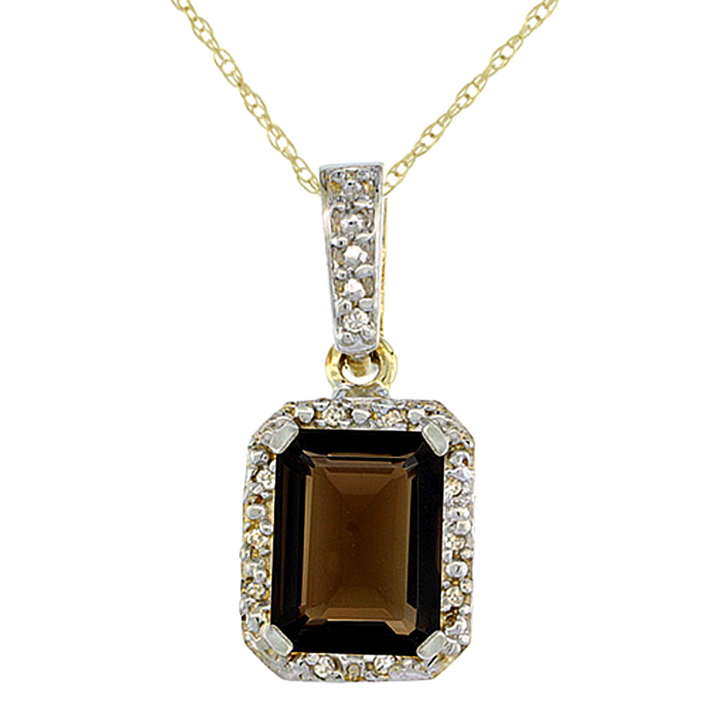 10K Yellow Gold Natural Smoky Topaz Pendant Octagon 8x6 mm & Diamond Accents