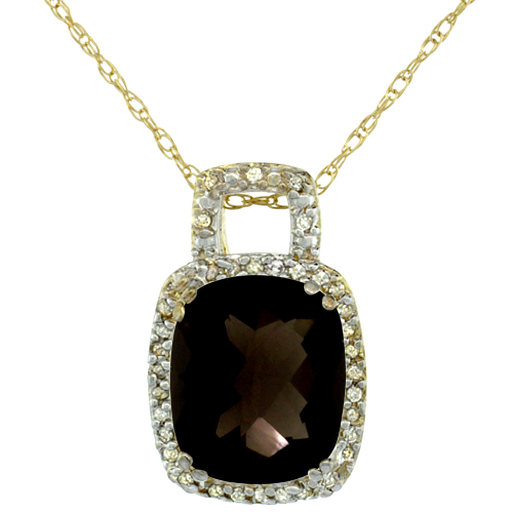 10K Yellow Gold Natural Smoky Topaz Pendant Octagon Cushion 10x8 mm & Diamond Accents