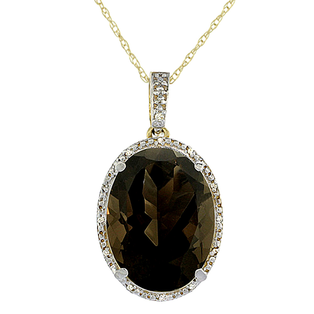 10K Yellow Gold Diamond Natural Smoky Topaz Pendant Oval 18x13 mm