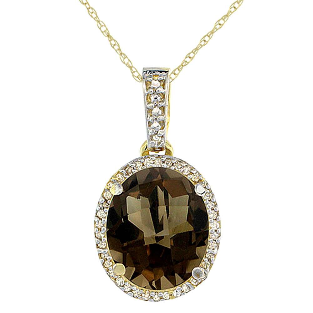 10K Yellow Gold Natural Smoky Topaz Pendant Oval 11x9 mm