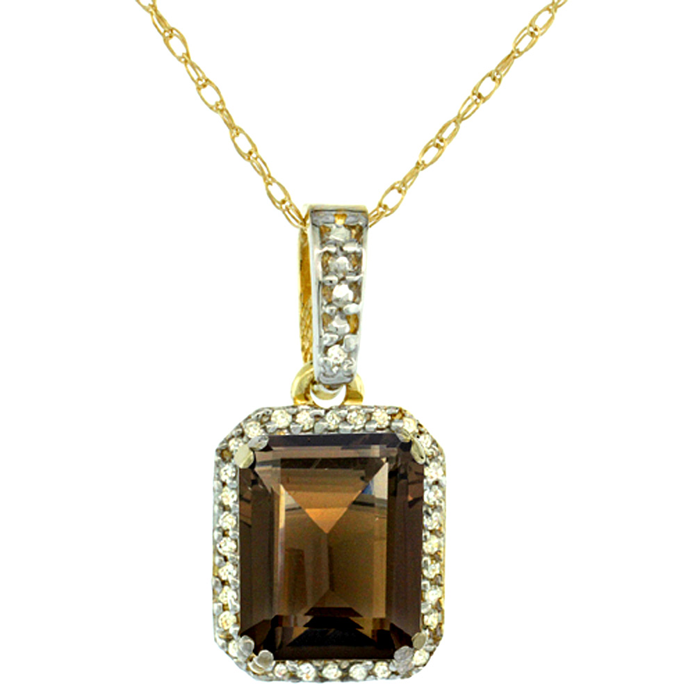 10K Yellow Gold Diamond Natural Smoky Topaz Pendant Octagon 9x7 mm