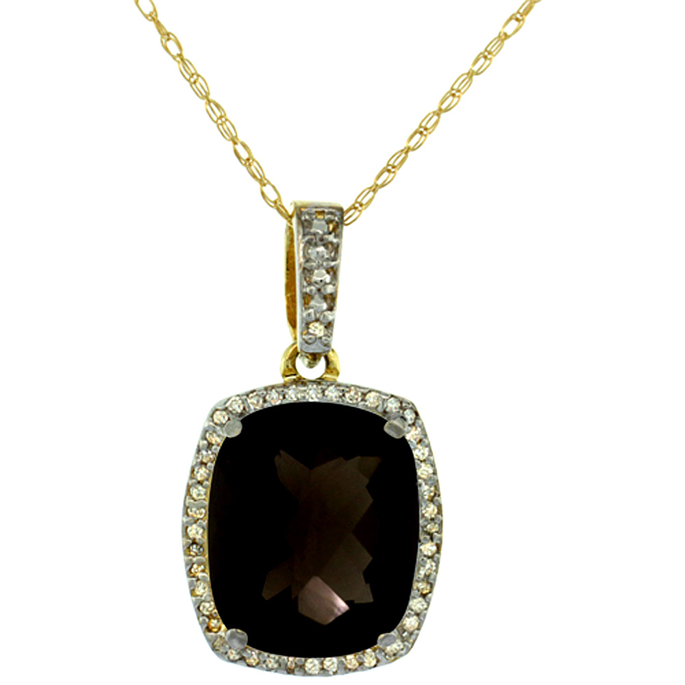 10K Yellow Gold Natural Smoky Topaz Pendant Octagon Cushion 12x10 mm