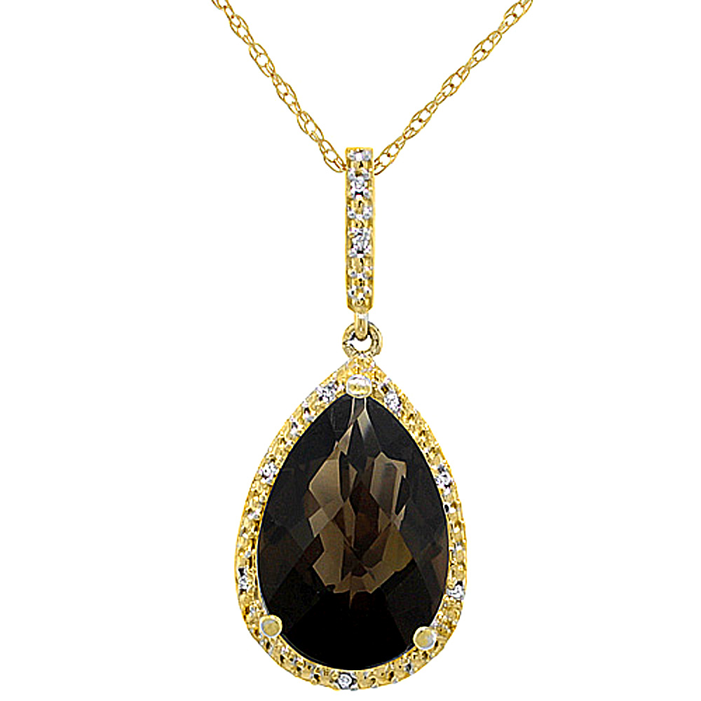 10K Yellow Gold Diamond Halo Natural Smoky Topaz Necklace Pear Shaped 15x10 mm, 18 inch long