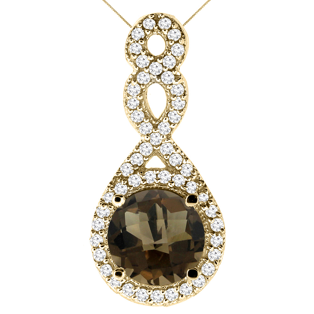 10K Yellow Gold Natural Smoky Topaz Eternity Pendant Round 7x7mm with 18 inch Gold Chain