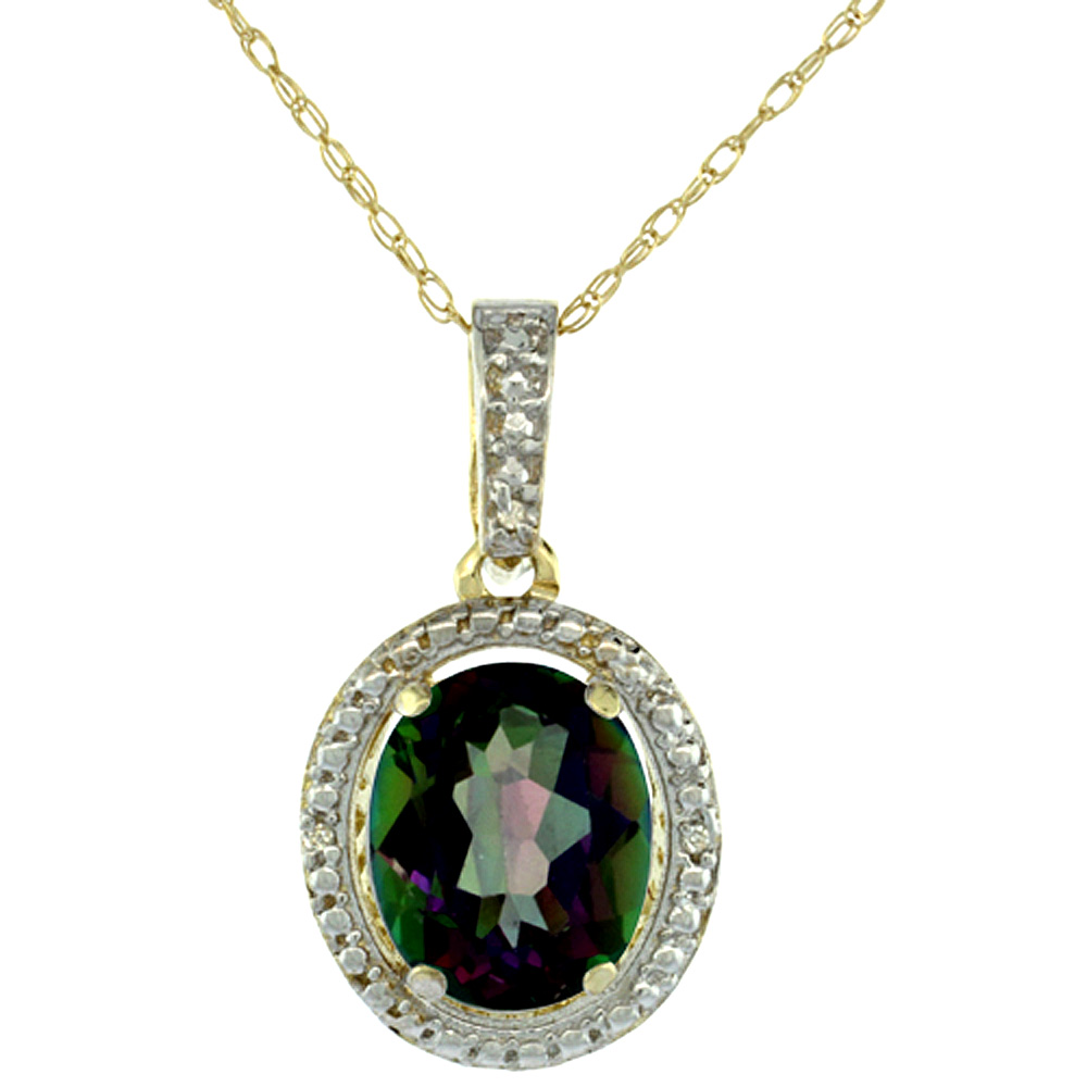 10K Yellow Gold 0.09 cttw Diamond Natural Mystic Topaz Pendant Oval 10x8 mm