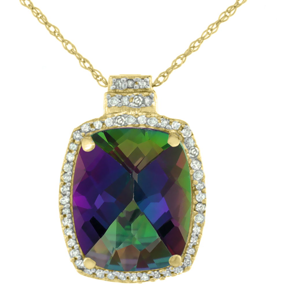 10K Yellow Gold 0.20 cttw Diamond Natural Mystic Topaz Pendant Octagon Cushion 11x9 mm