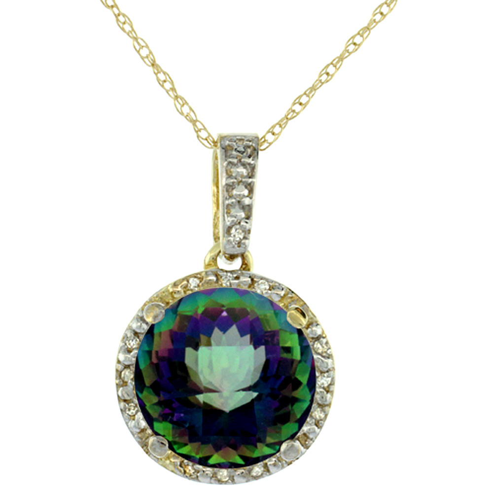 10K Yellow Gold Natural Mystic Topaz Pendant Round 11x11 mm & Diamond Accents