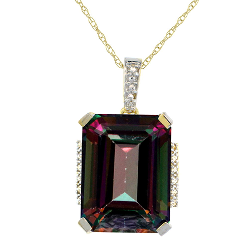 10K Yellow Gold Natural Mystic Topaz Pendant Octagon 16x12 mm & Diamond Accents