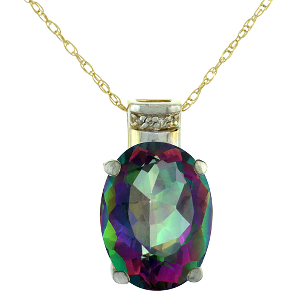 10K Yellow Gold Diamond Natural Mystic Topaz Pendant Oval 14x10 mm