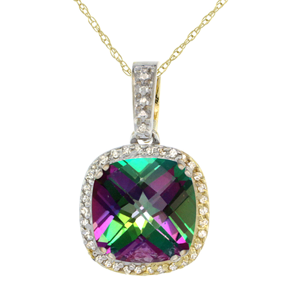 10k Yellow Gold Diamond Halo Natural Mystic Topaz Necklace Cushion Shaped 10x10mm, 18 inch long