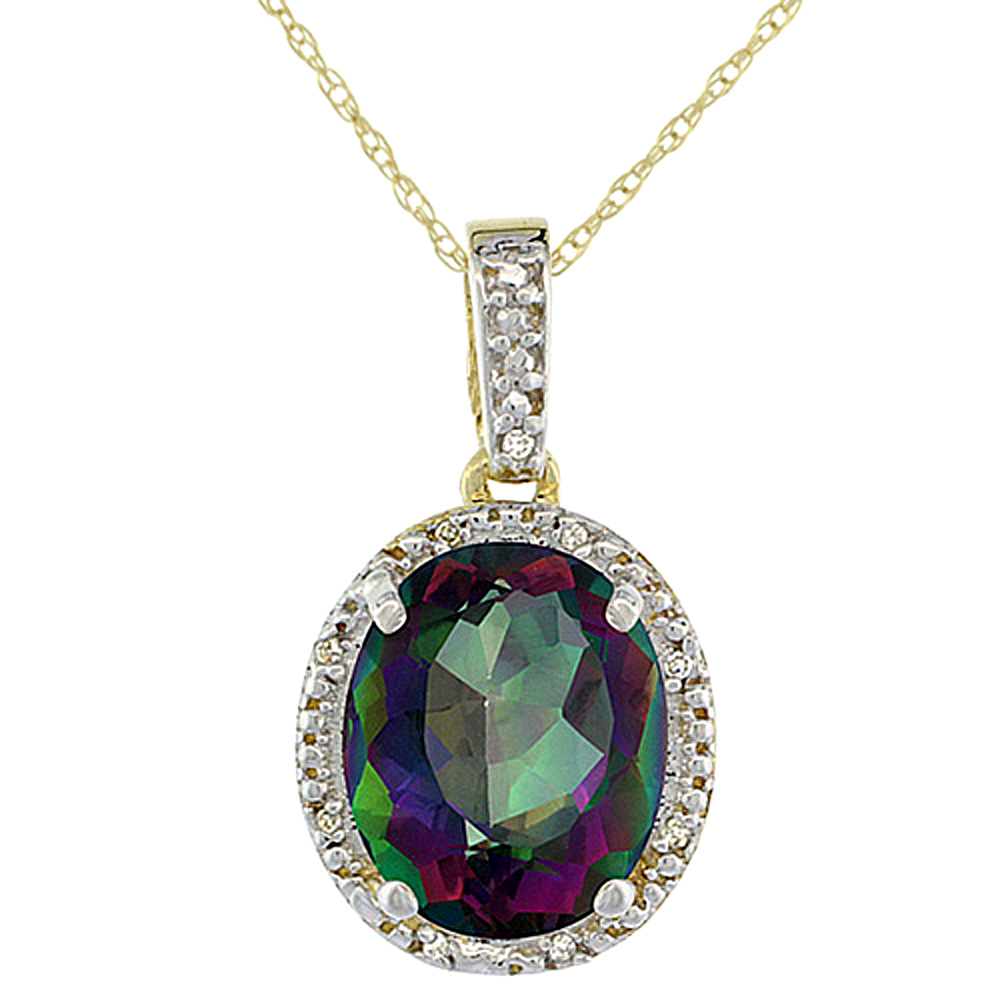 10K Yellow Gold Diamond Halo Natural Mystic Topaz Necklace Oval 12x10 mm, 18 inch long