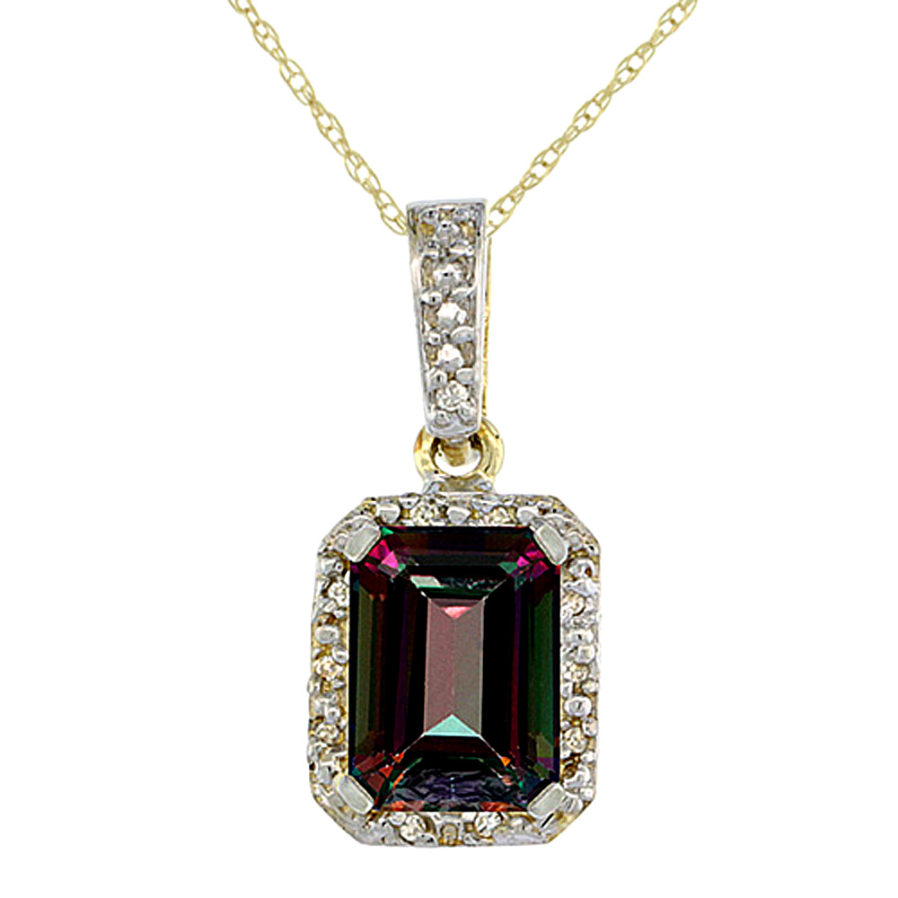 10K Yellow Gold Natural Mystic Topaz Pendant Octagon 8x6 mm & Diamond Accents