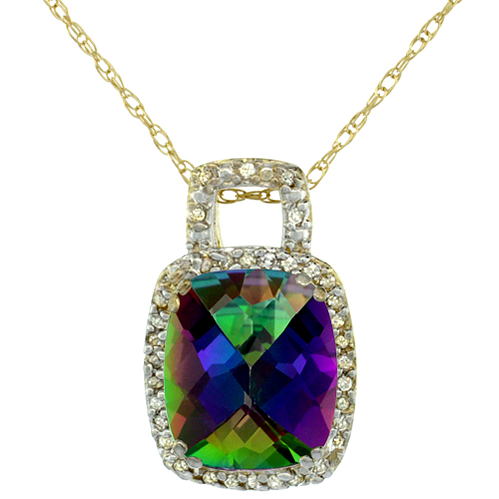 10K Yellow Gold Natural Mystic Topaz Pendant Octagon Cushion 10x8 mm & Diamond Accents