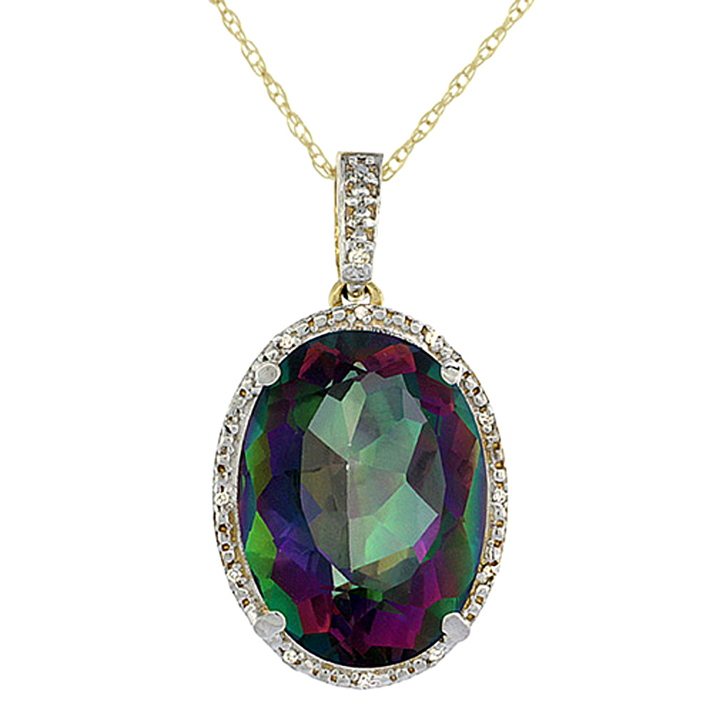 10K Yellow Gold Diamond Natural Mystic Topaz Pendant Oval 18x13 mm