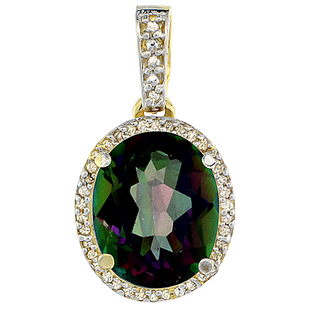 10K Yellow Gold Natural Mystic Topaz Pendant Oval 11x9 mm