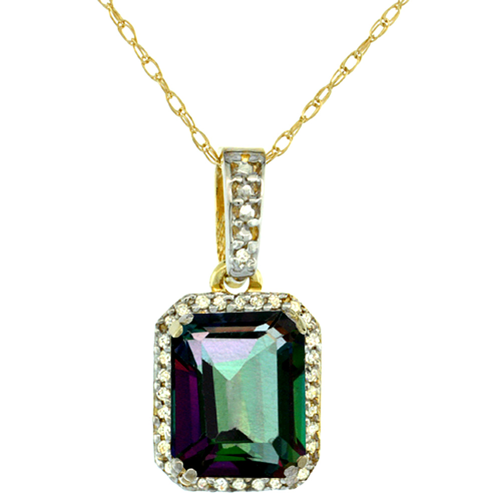 10K Yellow Gold Diamond Natural Mystic Topaz Pendant Octagon 9x7 mm