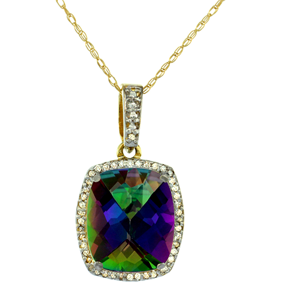 10K Yellow Gold Natural Mystic Topaz Pendant Octagon Cushion 12x10 mm