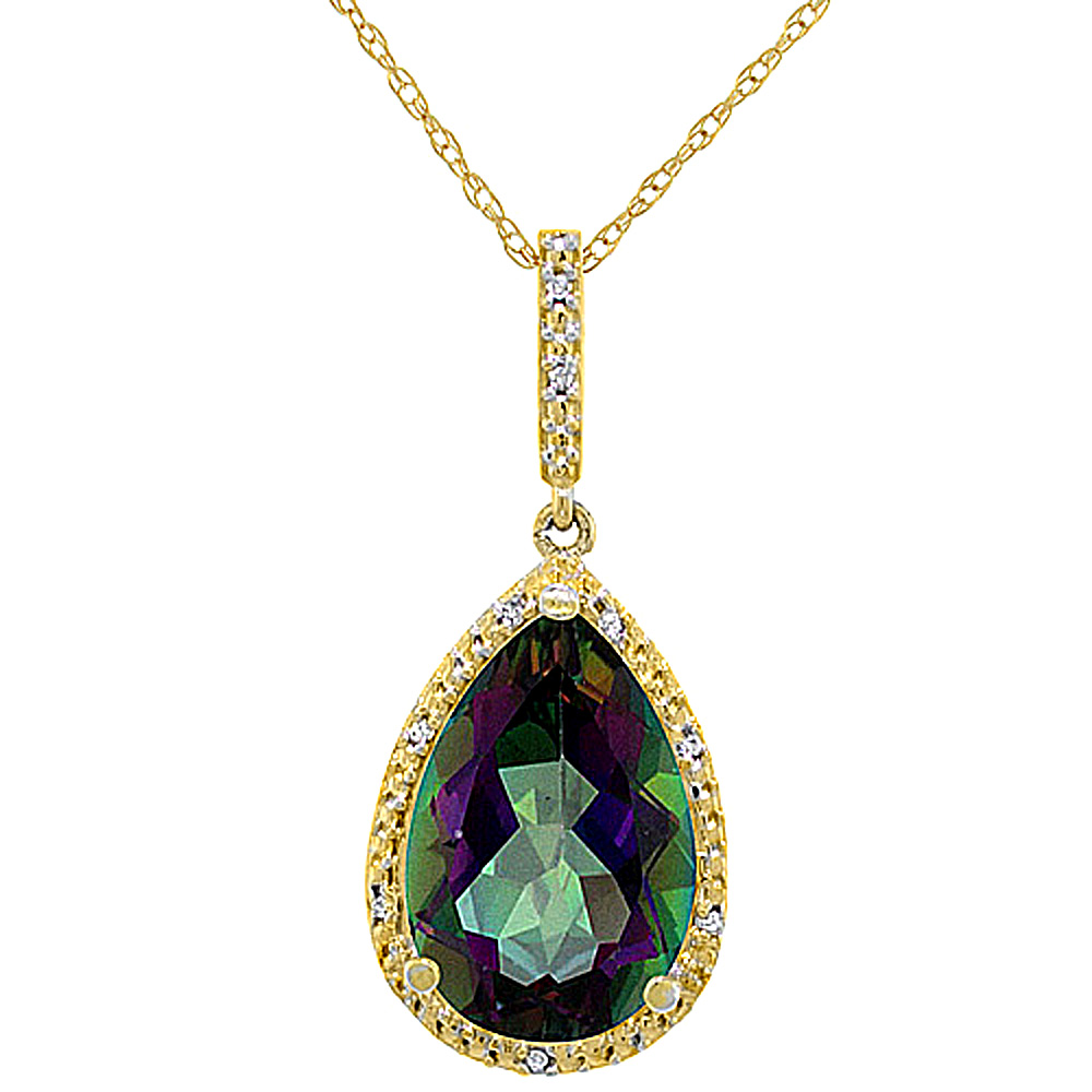 10K Yellow Gold Diamond Natural Mystic Topaz Pendant Pear Shape 15x10 mm