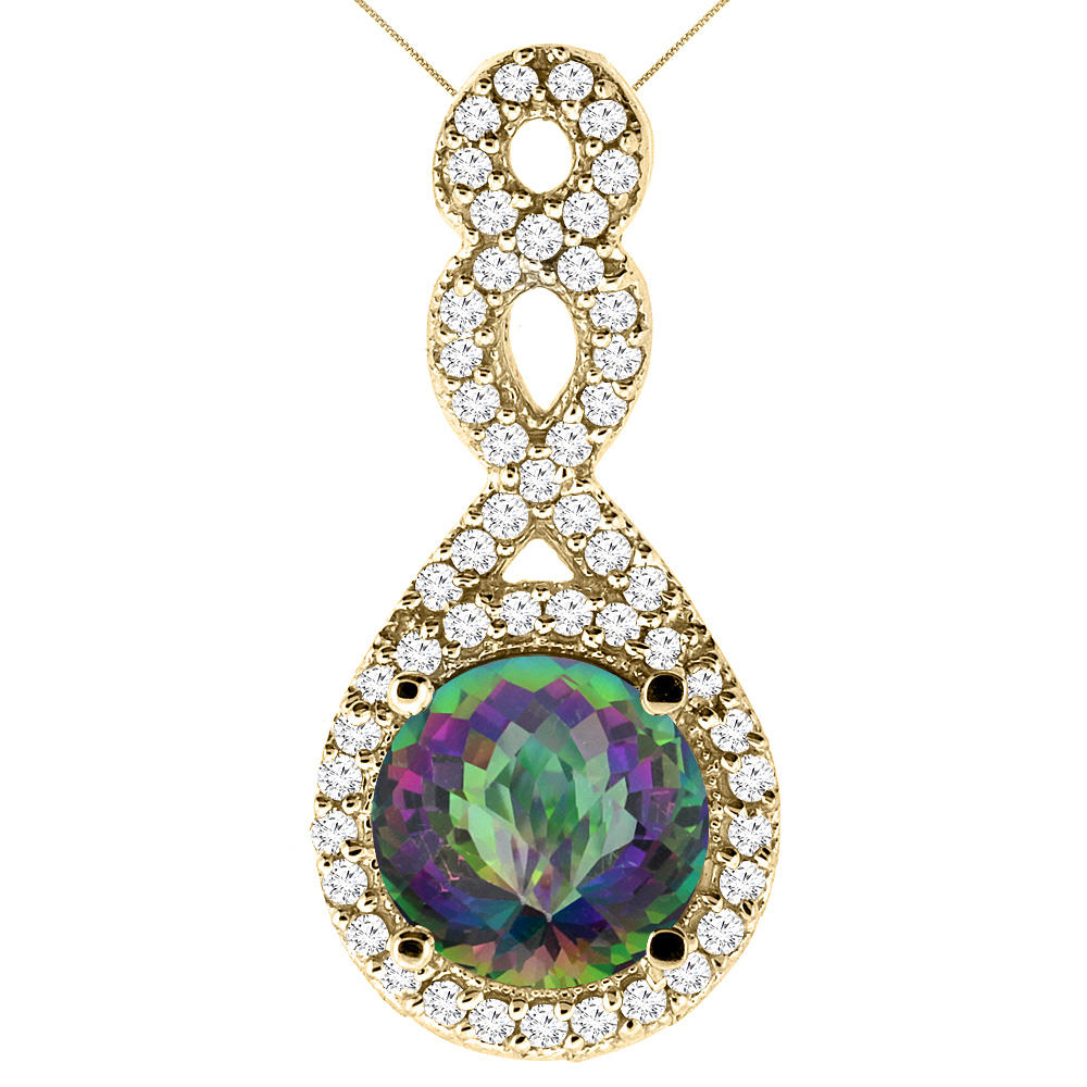 10K Yellow Gold Natural Mystic Topaz Eternity Pendant Round 7x7mm with 18 inch Gold Chain