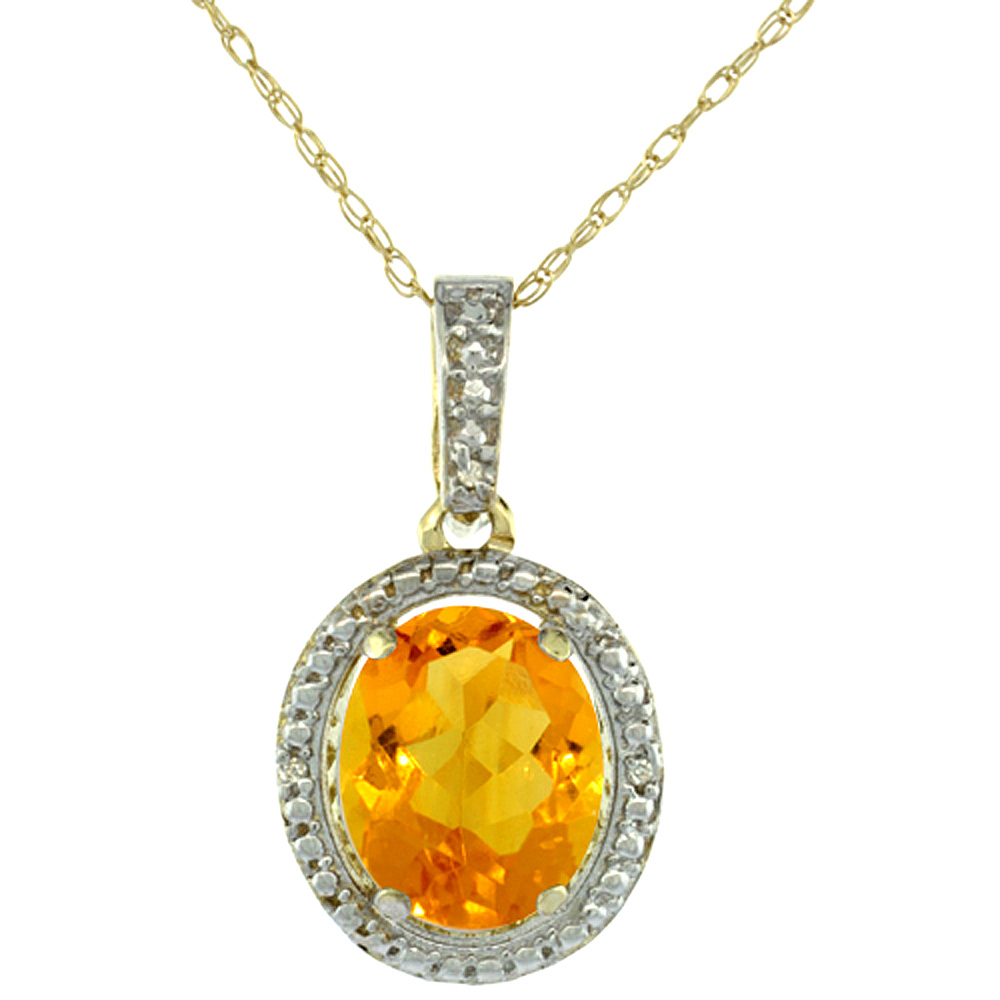 10K Yellow Gold 0.09 cttw Diamond Natural Citrine Pendant Oval 10x8 mm