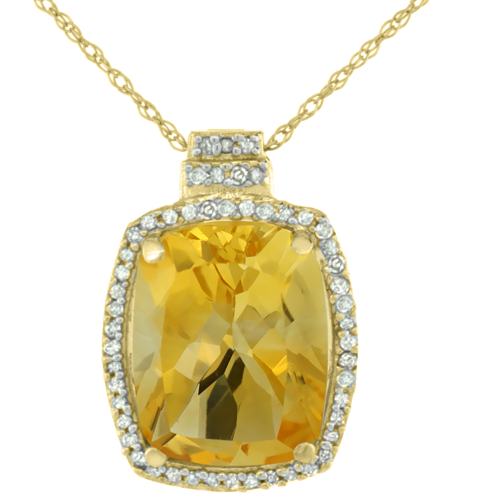 10K Yellow Gold 0.20 cttw Diamond Natural Citrine Pendant Octagon Cushion 11x9 mm