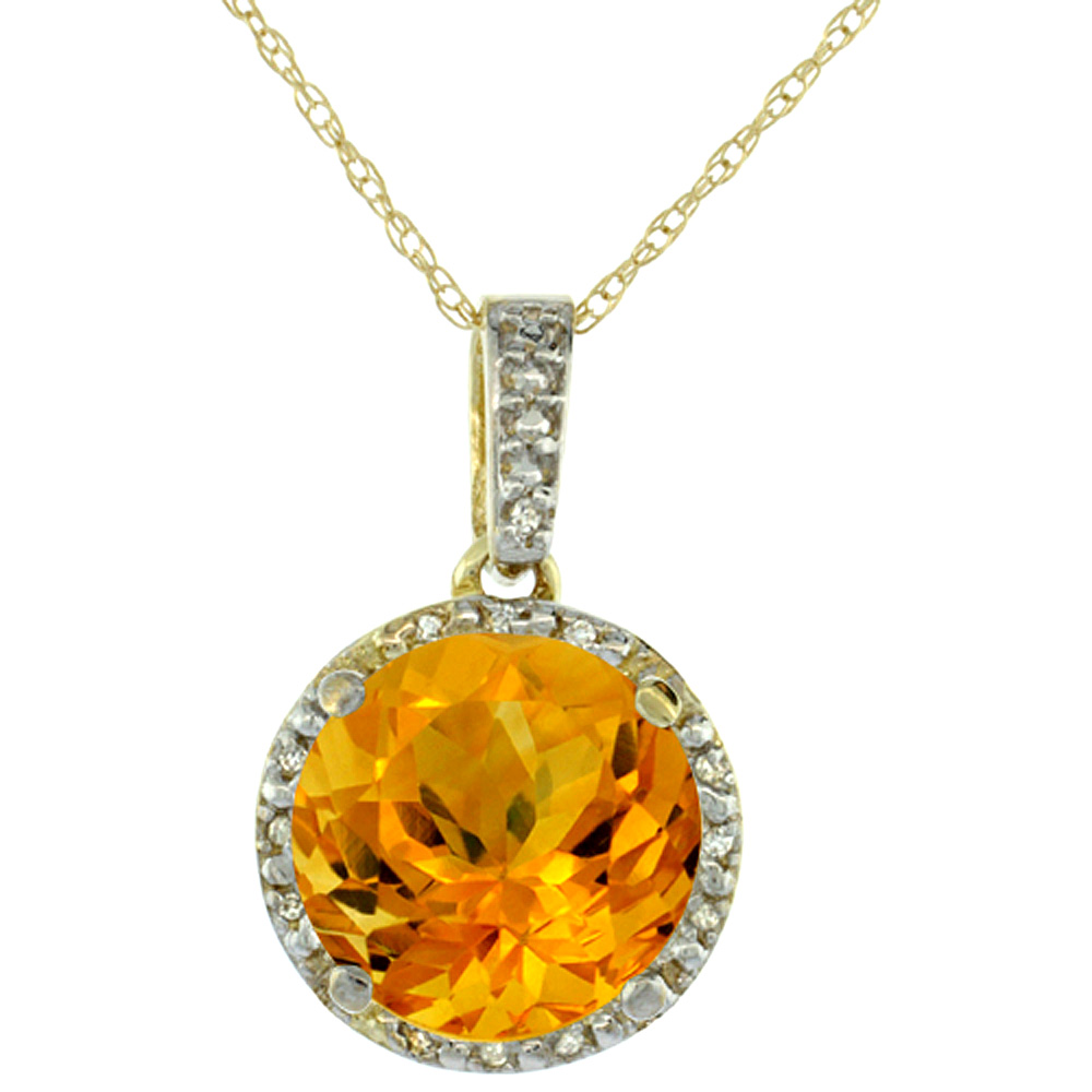 10K Yellow Gold 0.03 cttw Diamond Natural Citrine Pendant Round 11x11 mm