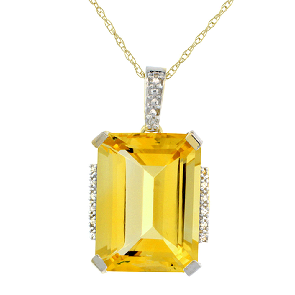 10K Yellow Gold Natural Citrine Pendant Octagon 16x12 mm & Diamond Accents