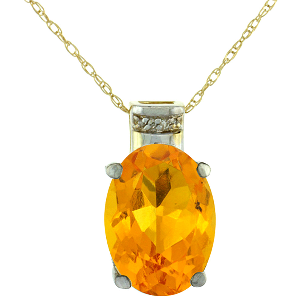 10K Yellow Gold Diamond Natural Citrine Pendant Oval 14x10 mm