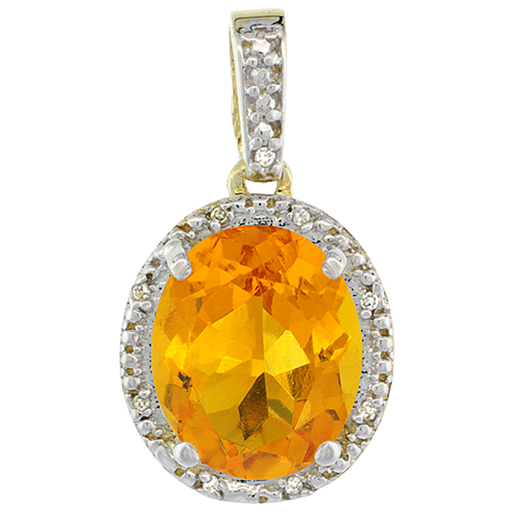 10K Yellow Gold Diamond Natural Citrine Pendant Oval 12x10 mm