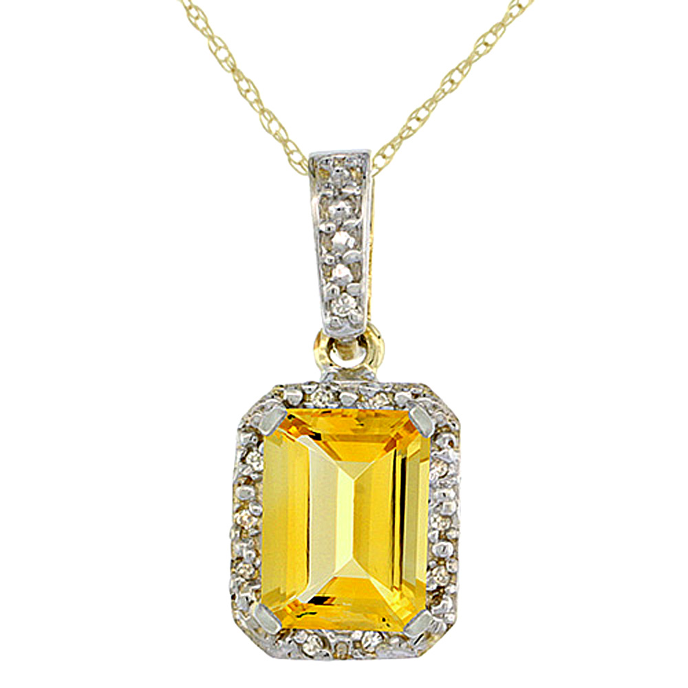 10K Yellow Gold Natural Citrine Pendant Octagon 8x6 mm & Diamond Accents