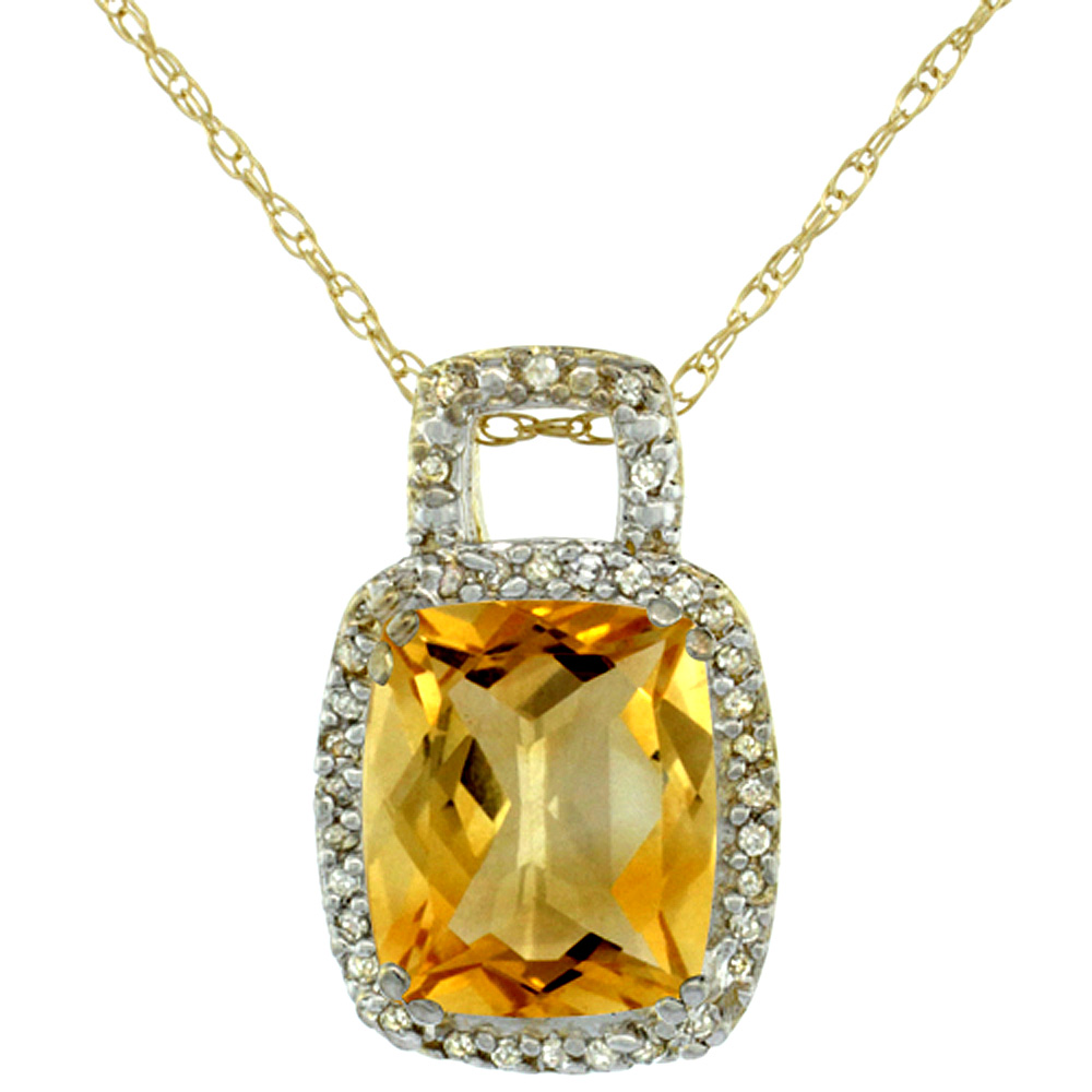 10K Yellow Gold Natural Citrine Pendant Octagon Cushion 10x8 mm & Diamond Accents