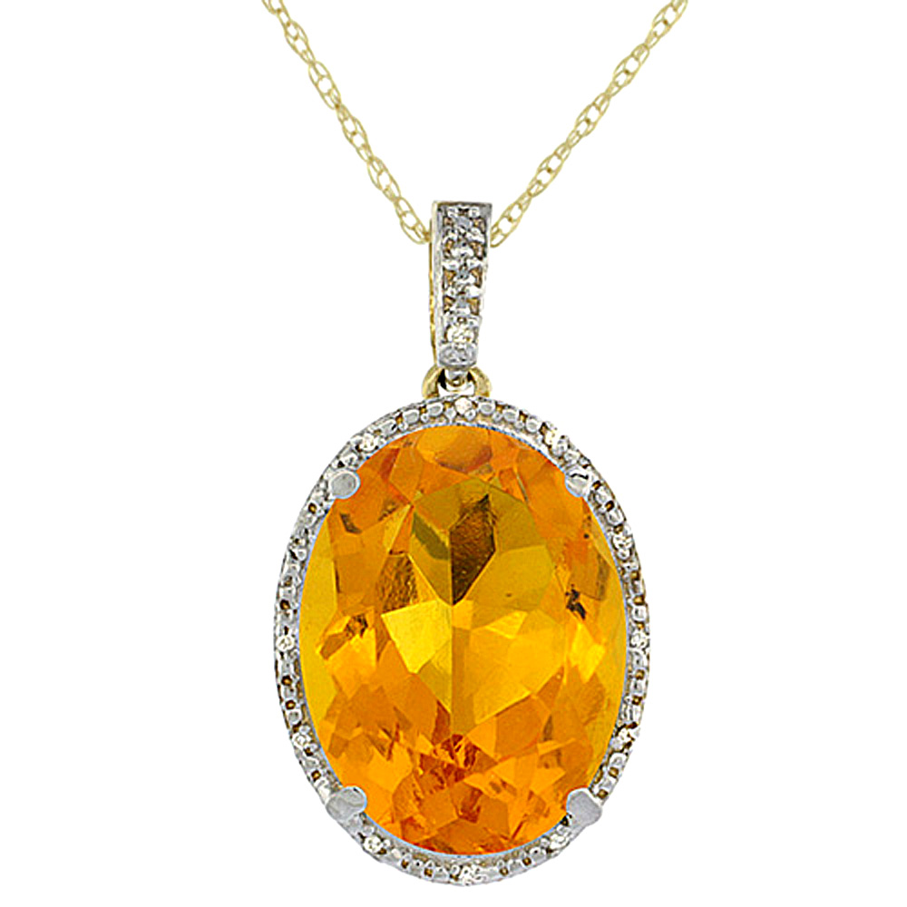 10K Yellow Gold Diamond Natural Citrine Pendant Oval 18x13 mm