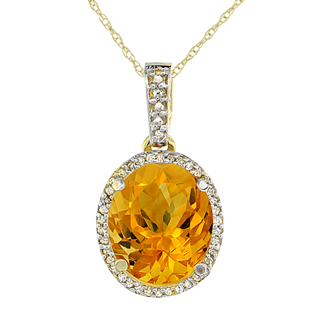 10K Yellow Gold Natural Citrine Pendant Oval 11x9 mm