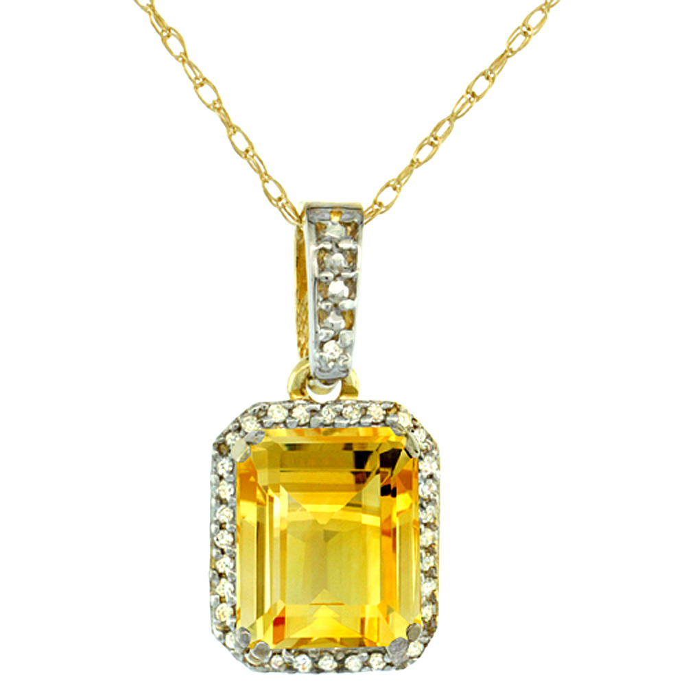 10K Yellow Gold Diamond Natural Citrine Pendant Octagon 9x7 mm