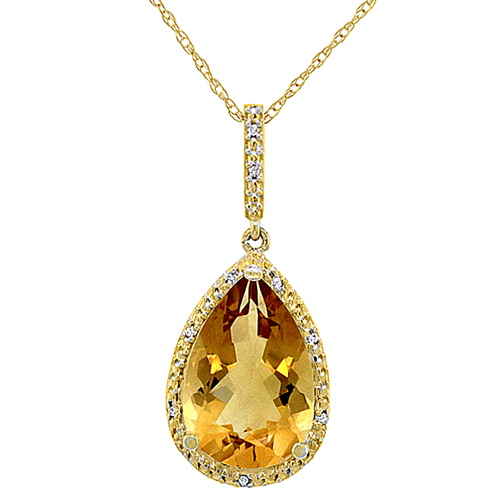 10K Yellow Gold Diamond Natural Citrine Pendant Pear Shape 15x10 mm