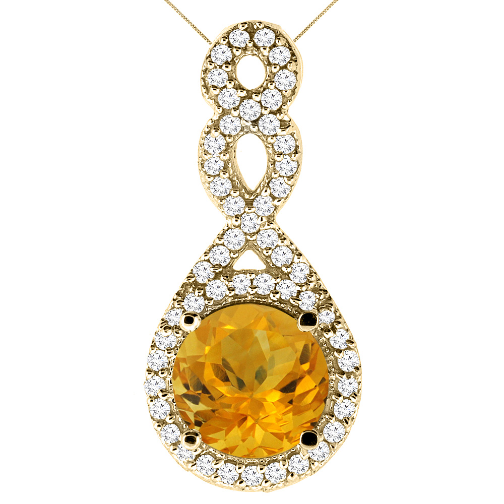 10K Yellow Gold Natural Citrine Eternity Pendant Round 7x7mm with 18 inch Gold Chain