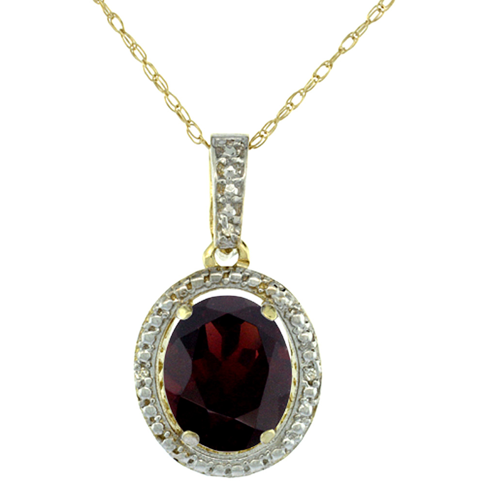 10K Yellow Gold 0.09 cttw Diamond Natural Garnet Pendant Oval 10x8 mm