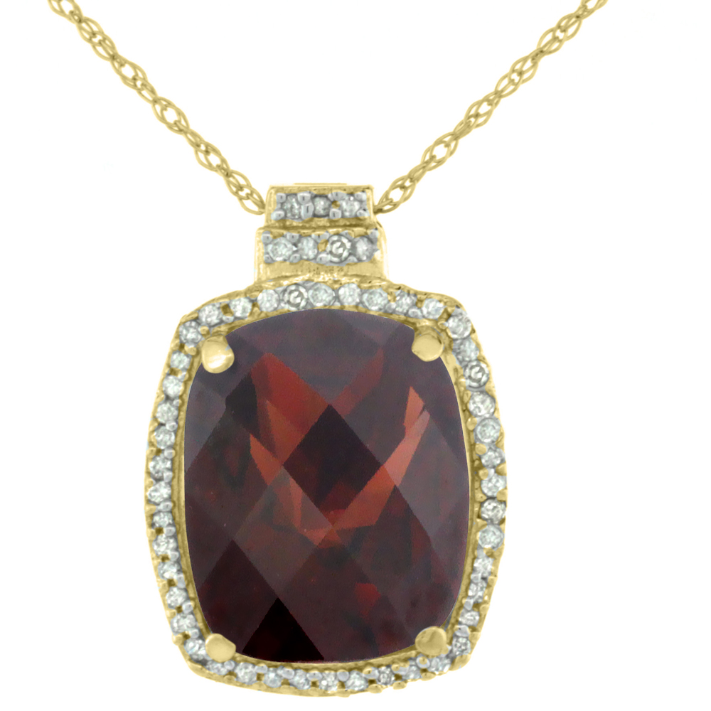 10K Yellow Gold 0.20 cttw Diamond Natural Garnet Pendant Octagon Cushion 11x9 mm