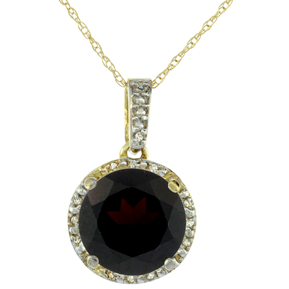10K Yellow Gold 0.03 cttw Diamond Natural Garnet Pendant Round 11x11 mm