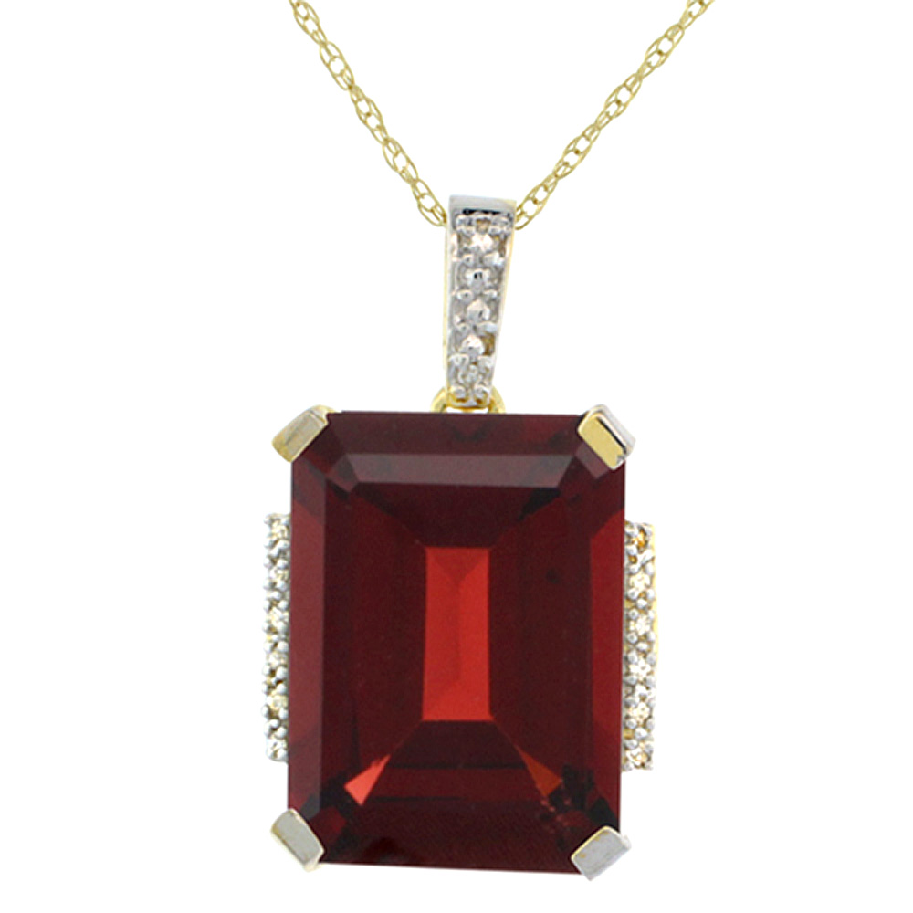 10K Yellow Gold Natural Garnet Pendant Octagon 16x12 mm & Diamond Accents