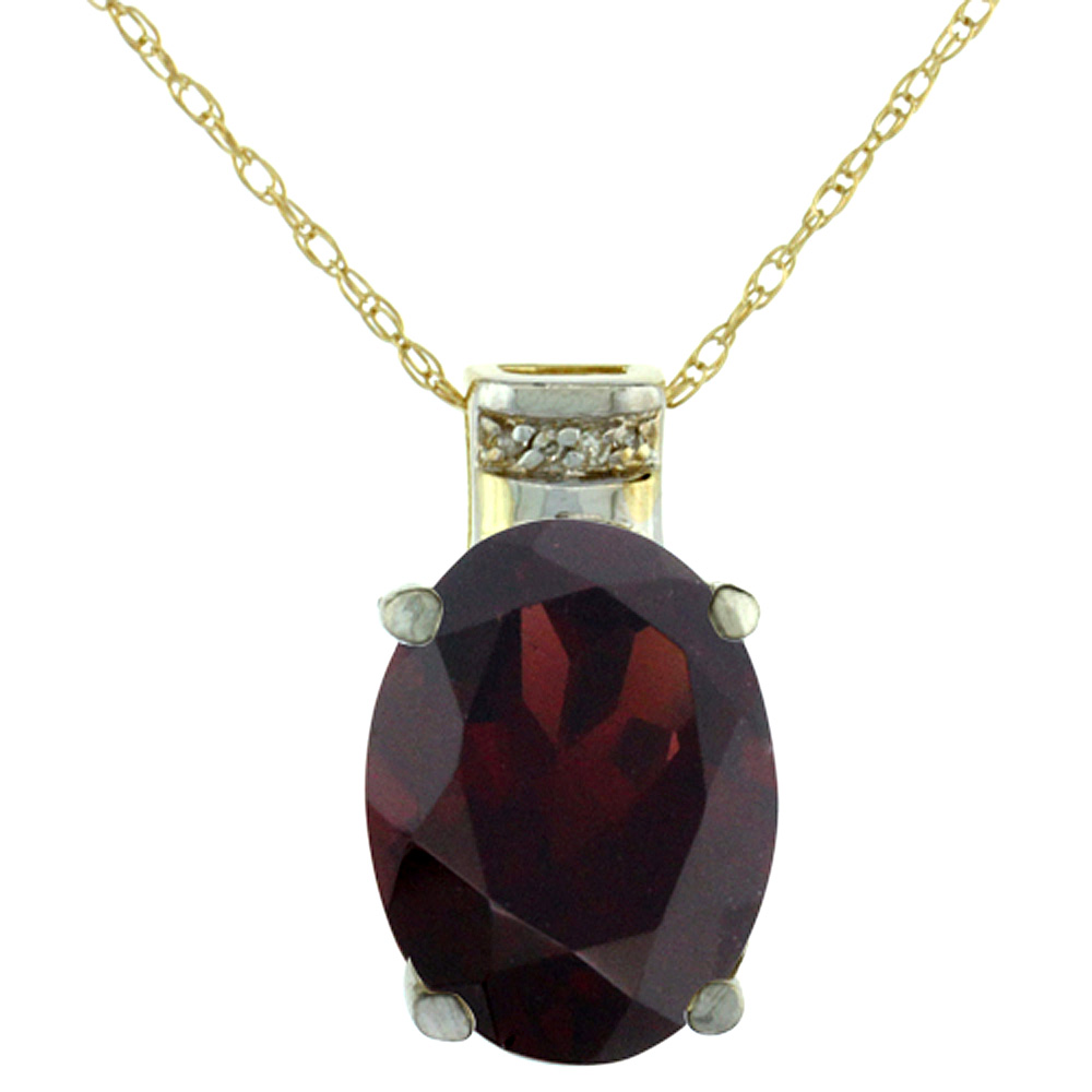 10K Yellow Gold Diamond Natural Garnet Pendant Oval 14x10 mm