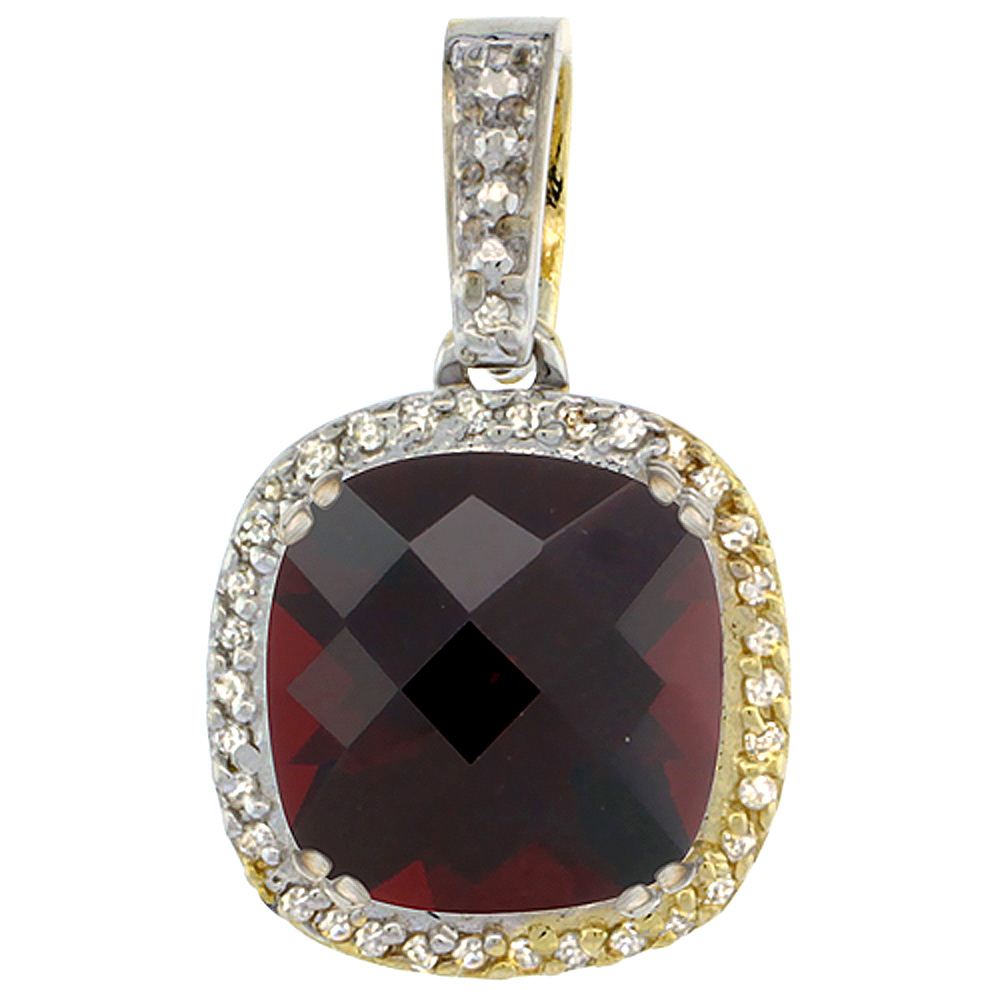 10K Yellow Gold Natural Garnet Pendant Cushion 10x10 mm & Diamond Accents