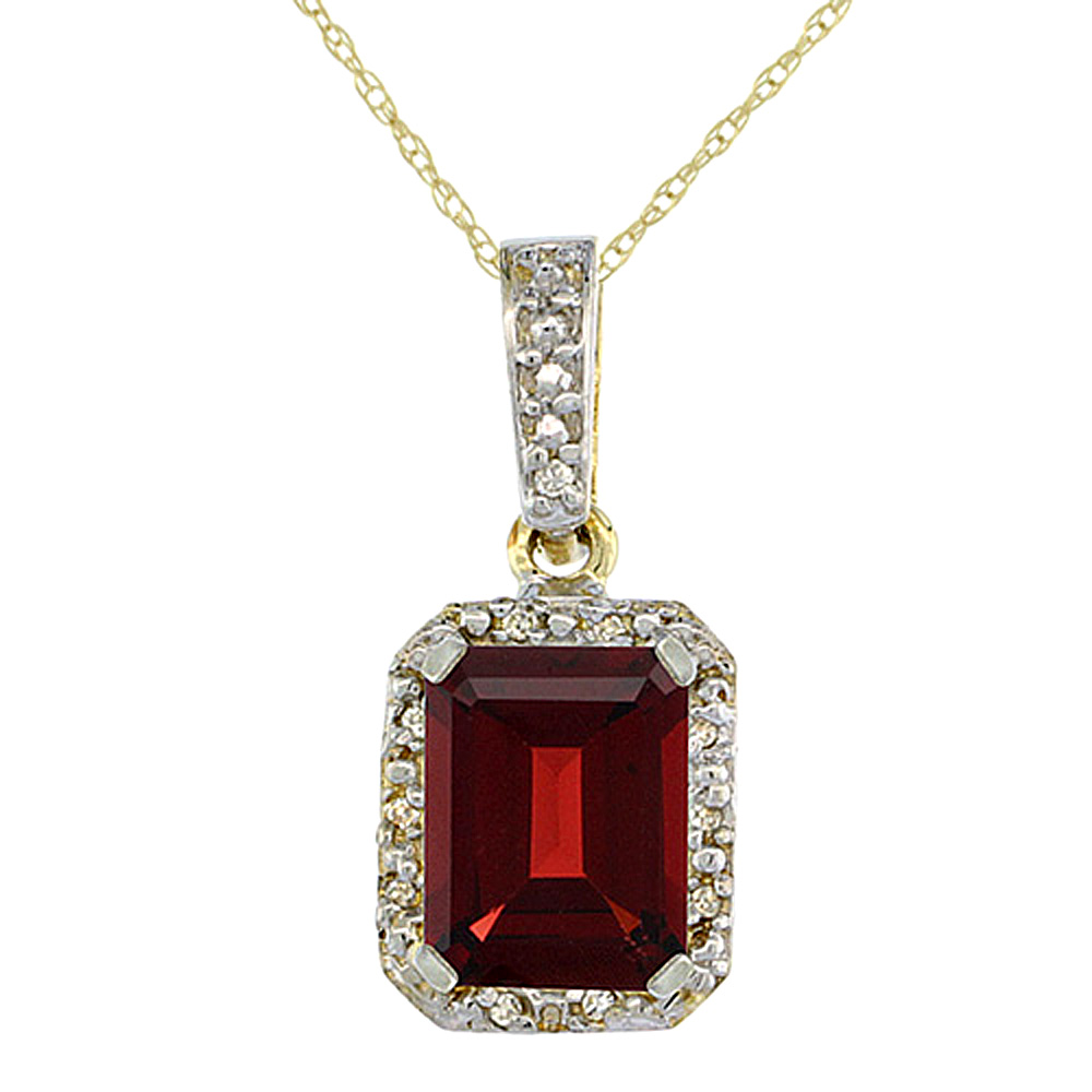 10K Yellow Gold Natural Garnet Pendant Octagon 8x6 mm & Diamond Accents