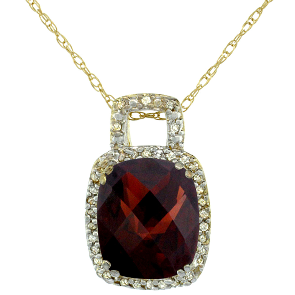 10K Yellow Gold Natural Garnet Pendant Octagon Cushion 10x8 mm & Diamond Accents