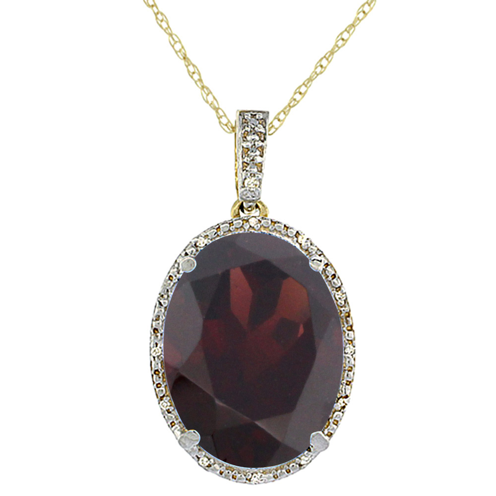 10K Yellow Gold Diamond Natural Garnet Pendant Oval 18x13 mm